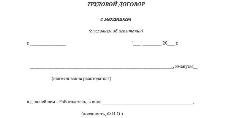 Образец трудового договора с механиком по выпуску 2019 скачать бесплатно типовой бланк пример форма распечатать