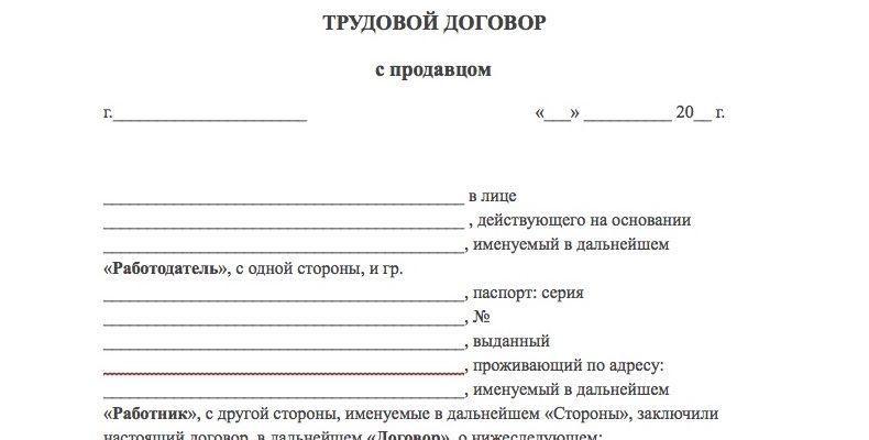 Трудовой договор ИП с продавцом образец 2019 скачать бесплатно типовой бланк пример форма распечатать