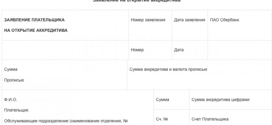 Образец заявления на получение аккредитива Сбербанк скачать бесплатно