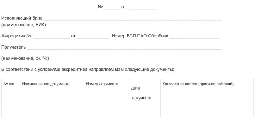Сопроводительное письмо Сбербанка на получение аккредитива